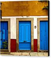 Three Blue Doors 1 Canvas Print by Mexicolors Art Photography