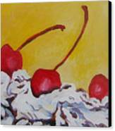 Three Cherries Canvas Print by Tilly Strauss