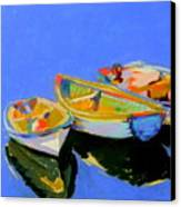Three Colourful Boats Canvas Print