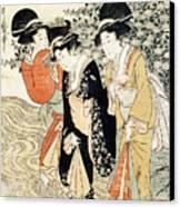Three Girls Paddling In A River Canvas Print by Kitagawa Utamaro