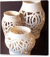 Three Interlaced Design Wheel Thrown Pots Canvas Print by Carolyn Coffey Wallace