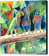 Three On A Branch Canvas Print