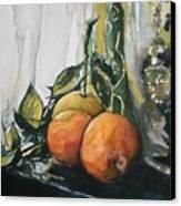 Three Oranges On Black Canvas Print