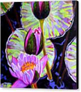 Three Purple Lilies Canvas Print