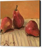 Three Red Pears Canvas Print by Raimonda Jatkeviciute-Kasparaviciene