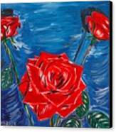 Three Red Roses Four Leaves Canvas Print