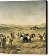 Threshing Wheat In Algeria Canvas Print by Adolphe Pierre Leleux