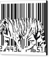 Tiger Barcode Canvas Print by Michael Tompsett