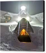 Timberline Lodge Entry Mt Hood Snowdrifts Canvas Print by Dustin K Ryan