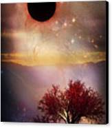 Total Eclipse Of The Sun Tree Art Canvas Print