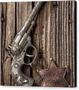 Toy Gun And Ranger Badge Canvas Print