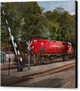 Train - Diesel - Look Out For The Locomotive  Canvas Print by Mike Savad