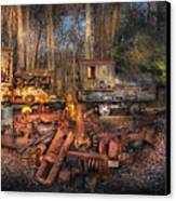 Train - Yard - Do It Yourself Kit Canvas Print by Mike Savad