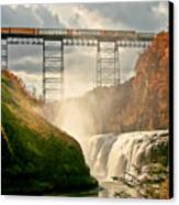 Train Over Letchworth Canvas Print by Ken Marsh