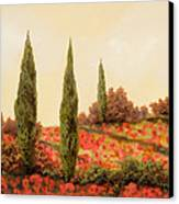 Tre Case Tra I Papaveri Canvas Print by Guido Borelli