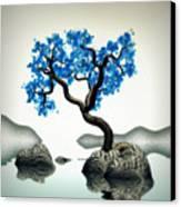 Tree In Blue Canvas Print by GuoJun Pan
