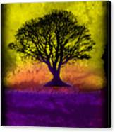 Tree Of Life - Yellow Sunburst Sky Canvas Print by Robert R Splashy Art