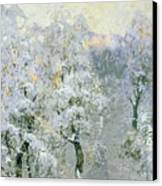 Trees In Wintry Silver Canvas Print by Konstantin Ivanovich Gorbatov