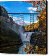 Tressel Over The High Falls Canvas Print by Dick Wood