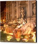 Trevi Fountain At Night Canvas Print by Jim Kuhlmann