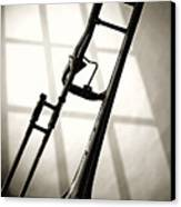 Trombone Silhouette And Window Canvas Print by M K  Miller