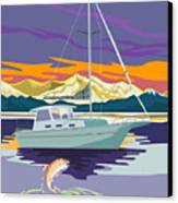 Trout Jumping Boat Canvas Print