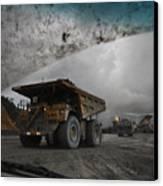 Trucks Hauling Waste Rock At Batu Canvas Print by Randy Olson