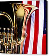 Tuba And American Flag Canvas Print by Garry Gay