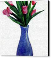 Tulips In A Tall Vase Canvas Print