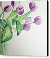 Tulips In Purple Canvas Print by Julie Lueders
