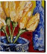 Tulips With Blue Bottle Canvas Print by Windi Rosson