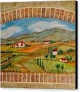 Tuscan Scene Brick Window Canvas Print