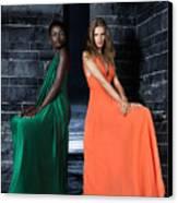 Two Beautiful Women In Elegant Long Dresses Canvas Print