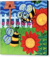 Two Bees With Red Flowers Canvas Print