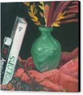 Two Books With Green Vase Canvas Print