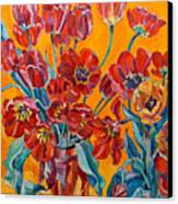 Two Bunches Of Red Tulips Canvas Print