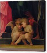 Two Cherubs Reading Detail From Madonna And Child With Saints Canvas Print