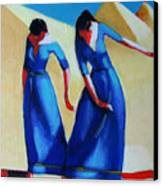 Two Dancers With Three Pyramids Canvas Print