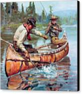 Two Fishermen In Canoe Canvas Print by Phillip R Goodwin