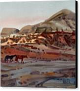 Two Horses In The Arroyo Canvas Print