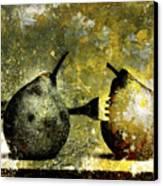 Two Pears Pierced By A Fork. Canvas Print by Bernard Jaubert