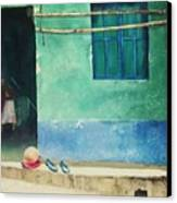 Two Shoes And A Melon Canvas Print by Elizabeth Carr