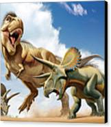 Tyrannosaurus Rex Fighting With Two Canvas Print by Mohamad Haghani