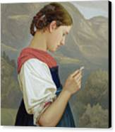 Tyrolean Girl Contemplating A Crucifix Canvas Print by Rudolph Friedrich Wasmann