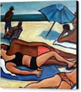 Un Journee A La Plage Canvas Print by Valerie Vescovi