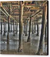 Under The Boardwalk Pier Sunbeams  Canvas Print