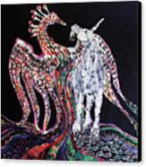 Unicorn And Phoenix Merge Paths Canvas Print