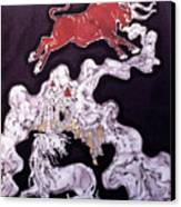 Unicorn And Red Bull Canvas Print by Carol  Law Conklin