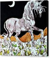 Unicorn Over Flower Field Canvas Print by Carol  Law Conklin