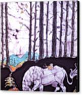 Unicorn Rests In The Forest With Fox And Bird Canvas Print
